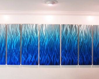 "Large Metal Wall Art ""Blue Flame"" by Brian M Jones Modern Abstract Aluminum Art Work Contemporary Blue Painting Sculpture Decor"
