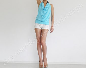 ELIZA Blue draped Halter backless summer tank top beach party fashion