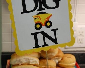 Dump Truck Buffet Sign, Construction Birthday, Little Digger Birthday, Dump Truck Party