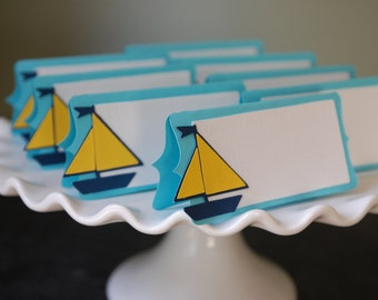 Sailboat Place Card, Sailboat Food Labels, Sailboat Party Supplies, Nautical, 12 Pcs, Aqua, Navy, Yellow