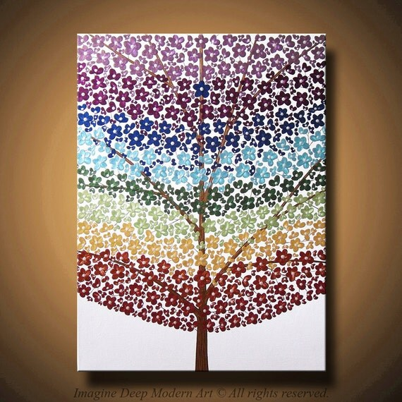 Flower Tree Painting Chakra Blossom Rainbow - Abstract Acrylic - Flowers and Blossoms - 18x 24 High Quality Original Modern Fine Art