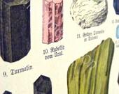 LARGE Antique Print, MINERALS 1880 sapphire tourmaline Chromolithograph Crystals wall art vintage colour illustration geology Australia