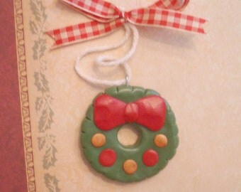 SALE Polymer Clay Christmas Wreath Christmas Ornament