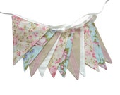 Vintage Style Pretty Pastel Floral Pink, Blue & Ivory, Flag Bunting. Kitchen Tea Party, Wedding etc