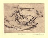 "Bird Drypoint Print ""Bird Bath"""