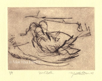"Bird Drypoint Print ""Bird Bath"""