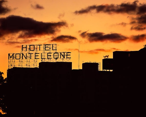 Hotel Monteleone- New Orleans Haunted Hotel- Matted Photography- Orange Sky