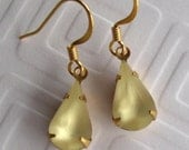 Soft Frosted Yellow Vintage rhinestone drop earrings