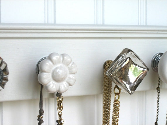"""Wall Necklace Holder """"Silver and White"""""""