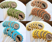 24 Little Man Mustache Cupcake Toppers with TWO Back Colors