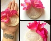 Retro Style Mini Hat Pink orchid Fascinator