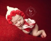 Newborn Bonnet - RED ROSES - baby bonnet with rose trim - newborn photo prop - knitbysarah - Stitches by Sarah