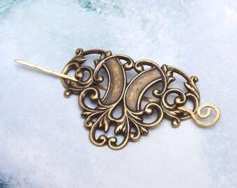 Gold Victorian Shawl Pin, Brass Victorian Scarf Pin, brass shawl pin, hair slide, oxidized, matte, fashion, golden brass, antique design