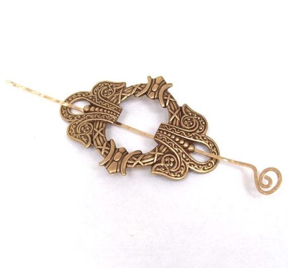 Golden Brass Celtic Shawl Pin, Celtic Scarf Pin, Celtic hair Slide, gold shawl pin, barrette, oxidized, fall fashion, gold scarf pin