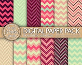 Chevron Digital Paper Pack - Purple Pink Blue Beige - Chevron Zig Zag Lines - Commercial Use - 12431