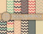 Chevron Digital Paper Pack - Gray Pink Orange Blue Beige - Chevron Zig Zag Lines - Commercial Use - 12364