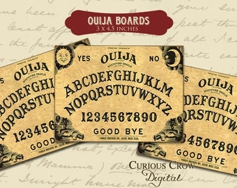 Ouija Boards Digital Collage Sheet - 3 x 4.5 Inches-  INSTANT Printable Download