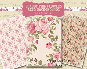 Shabby Pink Floral Digital Collage Sheet - 2.5 x 3.5 inch Images - Tags, ACEO ATC -  INSTANT Printable Download