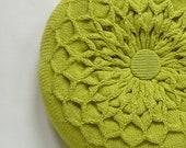 Green Pillow. Knitted Circular Waffle Cushion. Chartreuse Green Pillow Hand Puckered Waffle Design. Round Pillow Medium Size