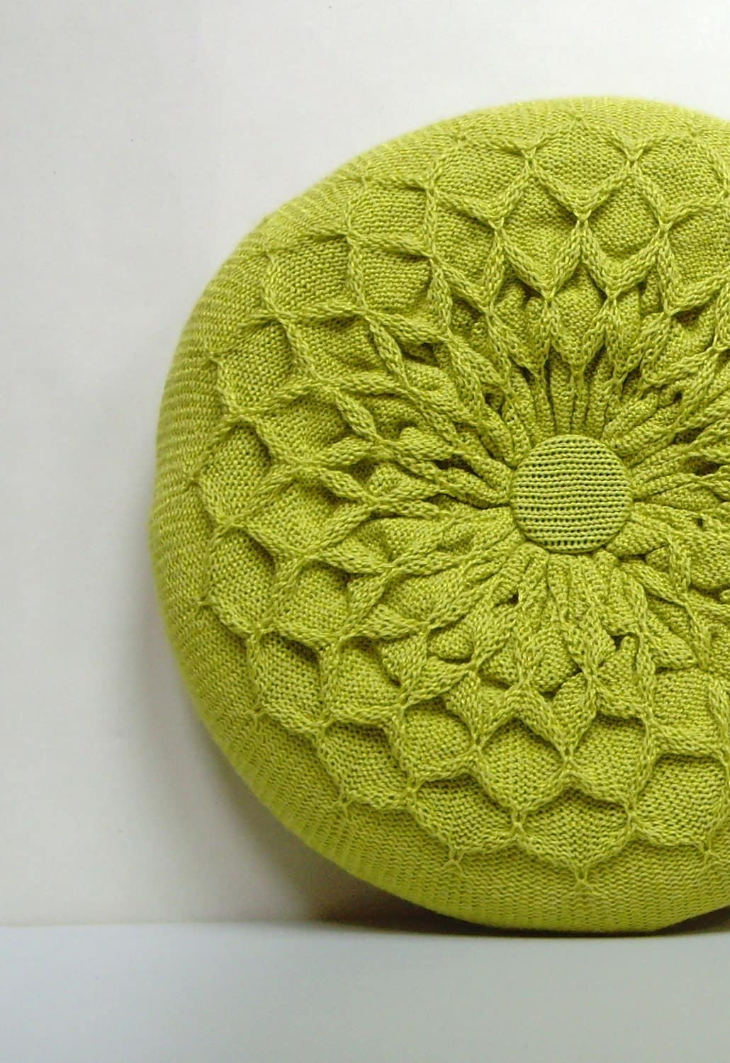 Knitting Pattern For Round Cushion : Green Pillow. Knitted Circular Waffle Cushion. Chartreuse