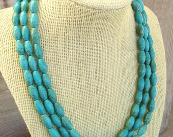 Genuine Turquoise Necklace. Triple Strand Turquoise Adjustable Necklace. Turquoise Jewelry. Strand Necklace