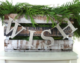 4 Inch - Serif Font - German Glass Glitter WISH Garland