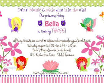 Fairy Garden Invitation, garden fairy birthday, and address labels, banners, gift tags and more with DIY Printable