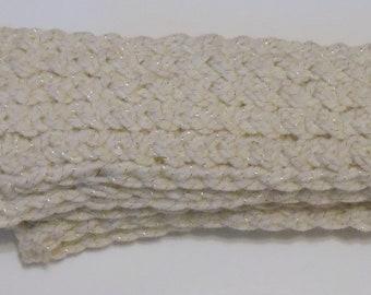 Cream Sparkle -Knitted Scarf Neck warmer Neck Wrap Knitt