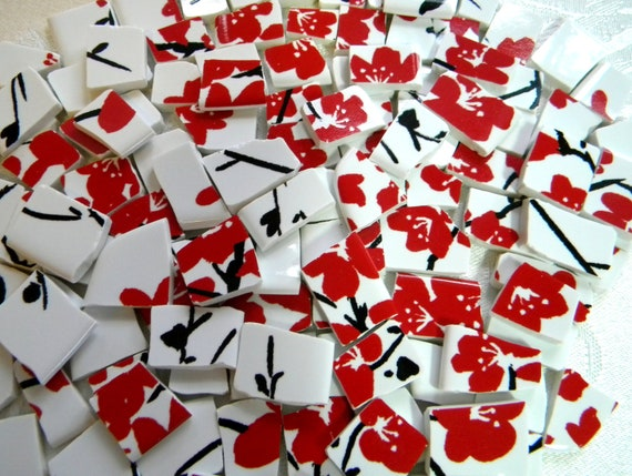 Broken China MOSAIC Tiles - Red Cherry Blossoms on White
