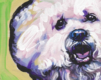 Bichon Frise art print dog pop art bright colors 13x19