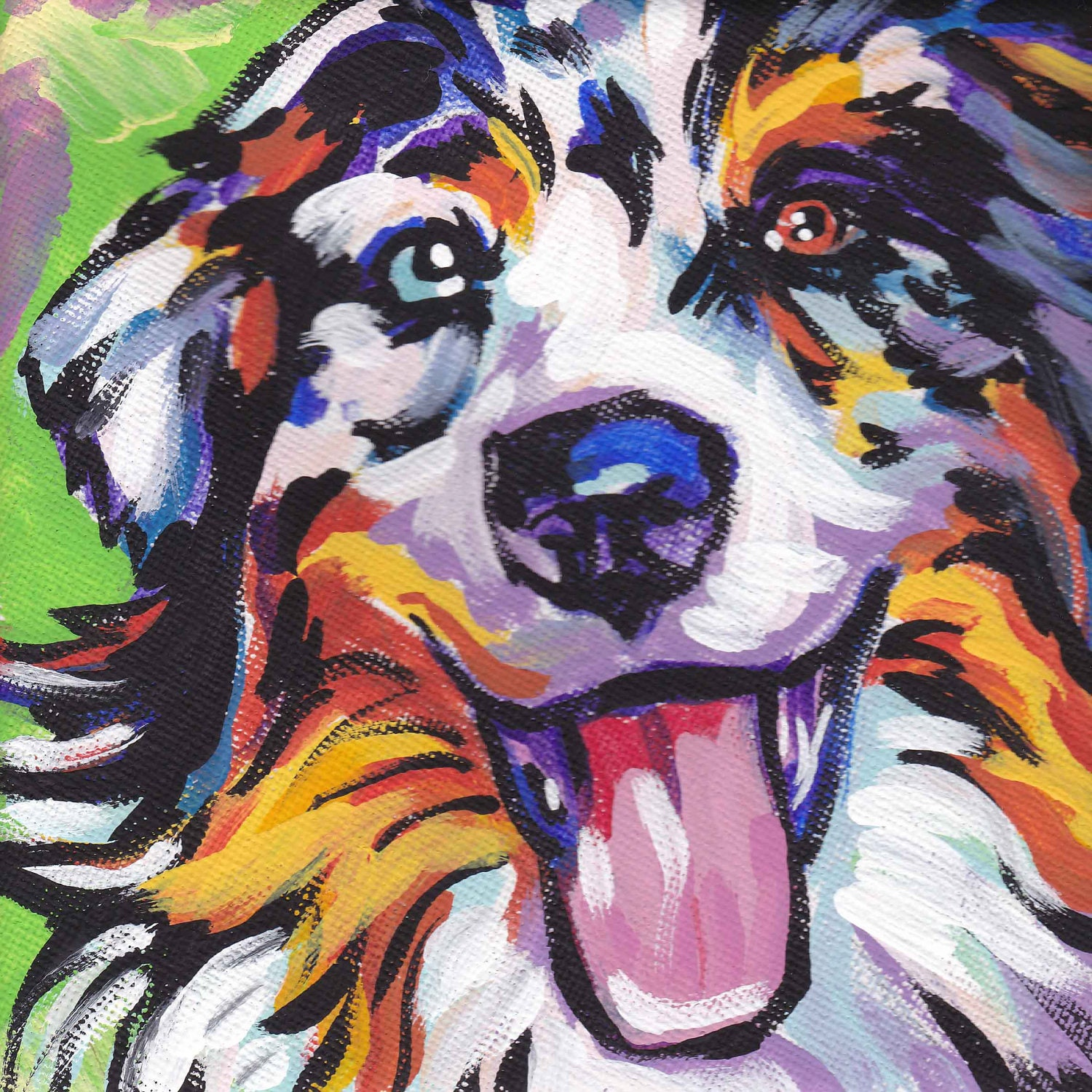 Australian shepherd art print modern dog art print blue merle for Dog painting artist