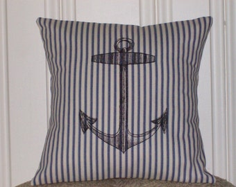 "shabby chic, feed sack, french country, Anchors Away 14"" x 14"" pillow sham."
