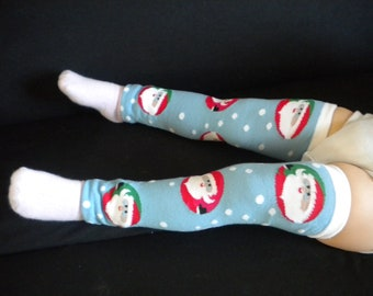 Baby Legwarmers Santa Blue Christmas/Holiday