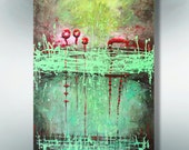 """Art.. Painting..Original painting.. ABSTRACT  PAINTING..  Canvas painting.. Green painting..  """"Green Splashes""""  36''x24'' Acrylic on Canvas"""