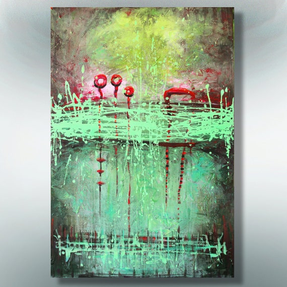 ORIGINAL  ABSTRACT  PAINTING on canvas  Green Splashes  36''x24'' Acrylic on Canvas