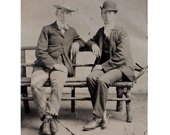 Antique Tintype of 2 Young Men on Park Bench