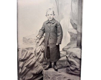 Antique Tintype Young Boy In Morning Coat with Scenic Background, Civil War Era