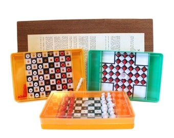 Vintage Travel Game Set Chess, Solitary & Checkers by Crisloid