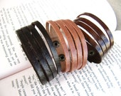 3 Leather Sliced Cuff Bracelets - mix and match - Sleek and Simple Style