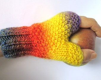arm warmers fingerless gloves mittens wrist warmers hand knitted wool cozy gift warm hot winter bright colors Christmas X-mas
