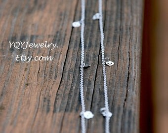 Silver - Long Tiny SKULL Necklace - 40 inch, feminine skull jewelry, Elegant Skull Jewelry, Dainty Jewelry