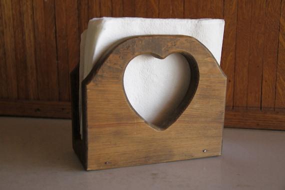 Vintage Wood Heart Napkin Holder