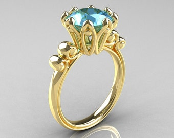 Modern Antique 14K Yellow Gold 3.0 Carat Aquamarine Solitaire Engagement Ring AR135-14KYGAQ