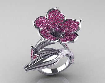 Designer Exclusive 14K White Gold Pink Sapphire Angels Trumpet Flower and Vine Ring NN123-14KWGPS