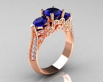 Classic 14K Rose Gold Three Stone Diamond Blue Sapphire Solitaire Ring R200-14KRGDBS