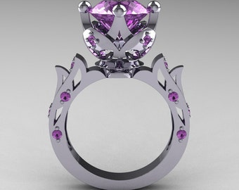 Modern Antique 10K White Gold 3.0 Carat Lilac Amethyst Solitaire Wedding Ring R214-10KWGLA