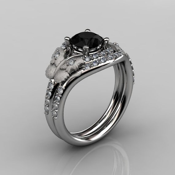 Nature Inspired 10K White Gold 1.0 CT Black Diamond Butterfly and Vine Engagement Ring, Wedding Band Set NN117SS-10KWGDBD