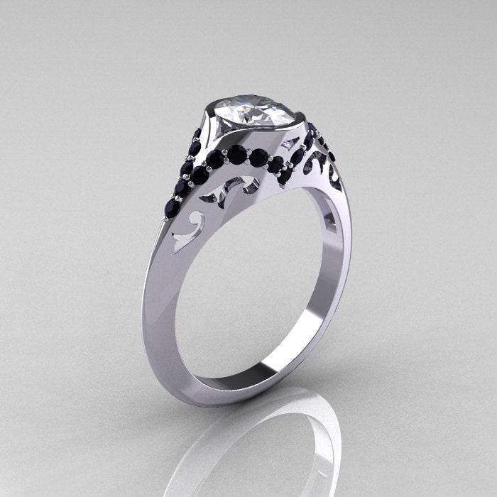 Classic 14k White Gold Oval Sapphire Black Diamond 079ej1 A Michael Beaudry 90 Platinum 10 Iridium Wedding Band