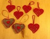knitted and crocheted heart hanging decorations