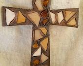 "Brown Gold 11"" Mosaic Wall Cross Home Decor"